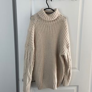 Primark long white knitted sweater